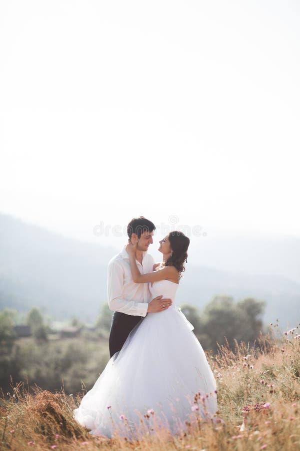 De romantische jonggehuwden die van het fairytalepaar bij zonsondergang op een achtergrond van bergen stellen stock afbeelding