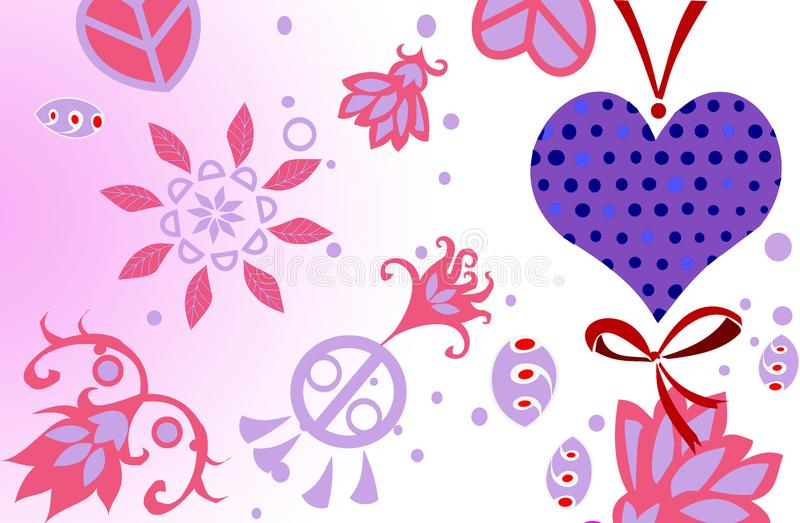 De romantische kaart van de valentijnskaart` s dag stock foto