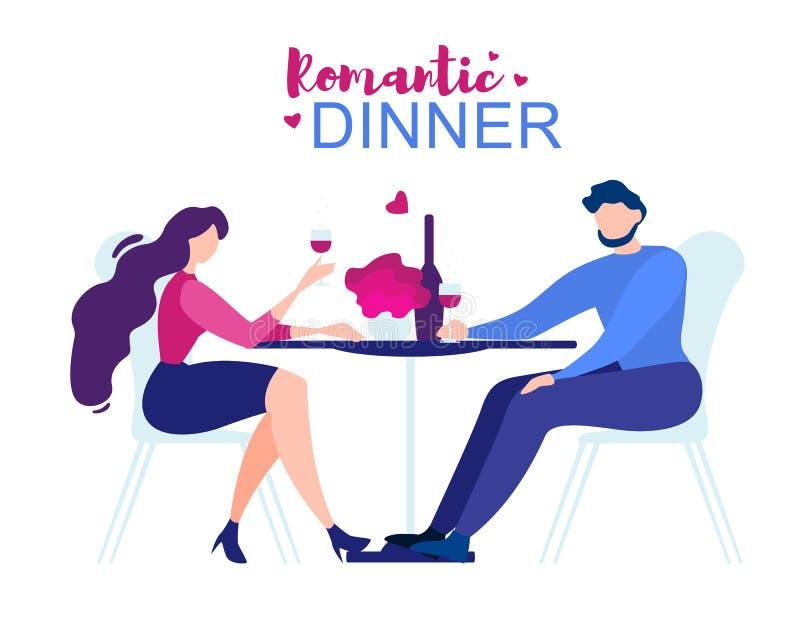 De romantische de Man van het Dinerbeeldverhaal Lijst van het Vrouwenrestaurant vector illustratie