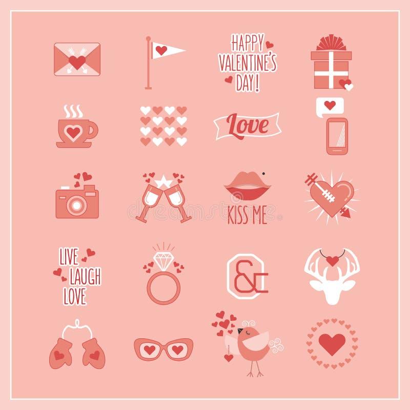 De romantische pictogrammen van leuk Roze en wit Valentine de geplaatste Dag en vector illustratie