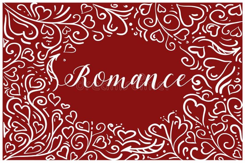 De romantische st valentijnskaartkaart met wit heartshaped ornament over rode achtergrond vector illustratie