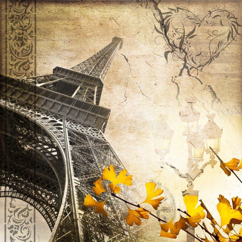 De romantische uitstekende toren van de collageeiffel van Parijs stock foto