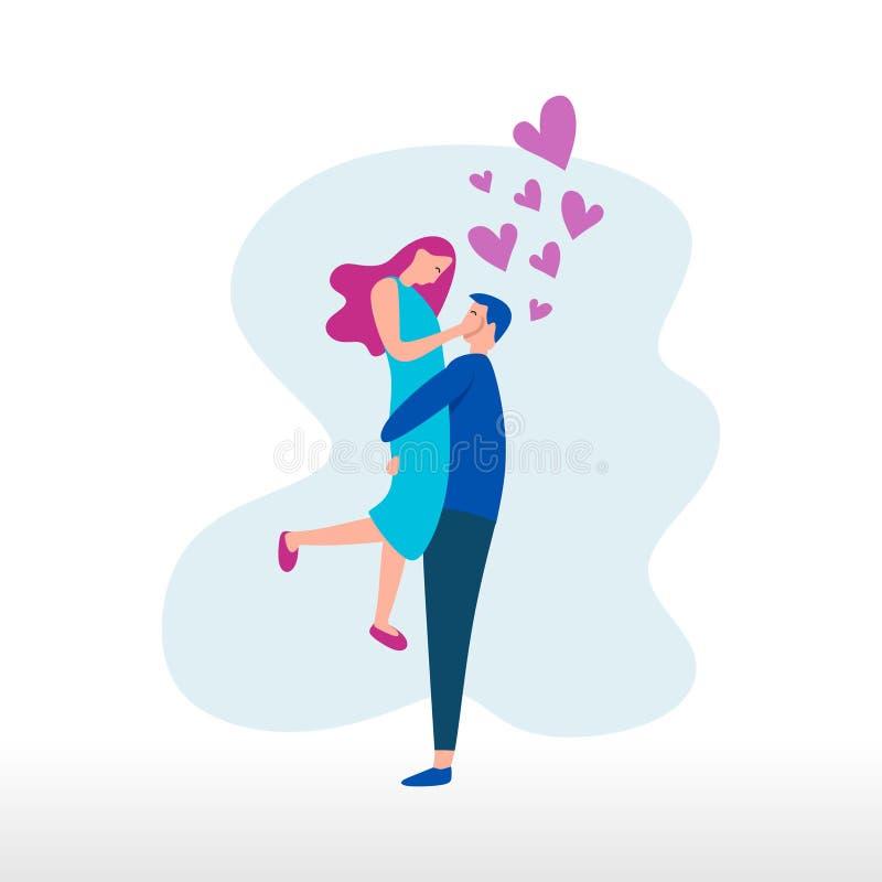 De romantische vector van het paar vlakke ontwerp met het leuke kleurrijke Web van het tekeningsbeeldverhaal ui ux stileert royalty-vrije illustratie