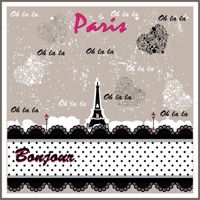 De romantische verfraaide Toren van Eiffel vector illustratie