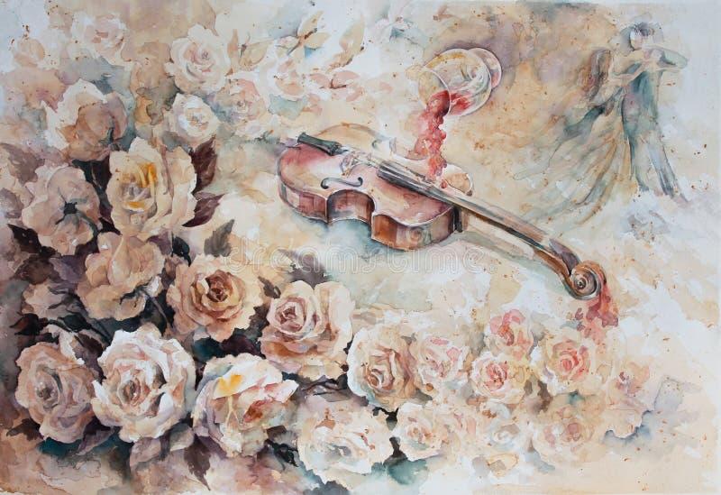 De romantische wals en de wijn in het glas royalty-vrije stock afbeelding