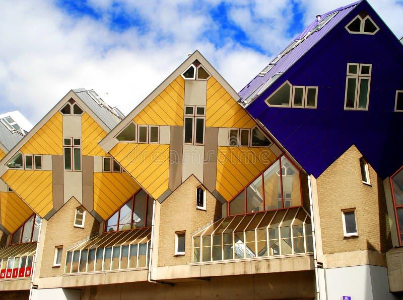 De rombic huizen van Rotterdam stock foto
