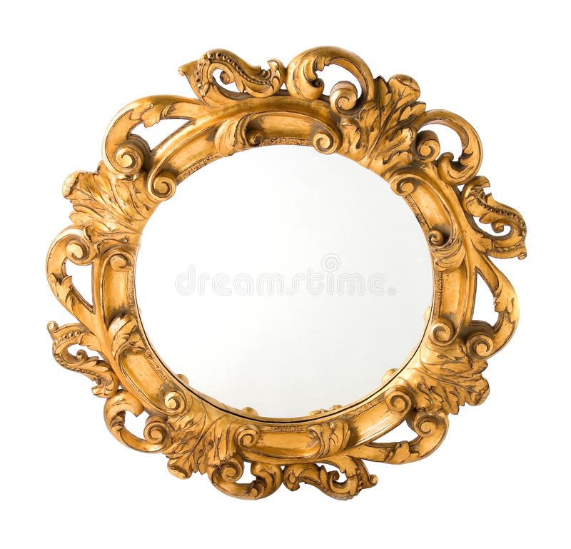 De rond Gesneden Hout Vergulde Spiegel van de Muur royalty-vrije stock fotografie