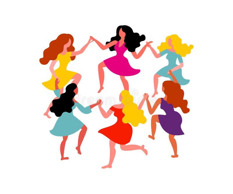 De ronde dans van vrouwen De vrouwen met lang haar en de kleding houden handen Vectorillustratie op 8 Maart royalty-vrije illustratie
