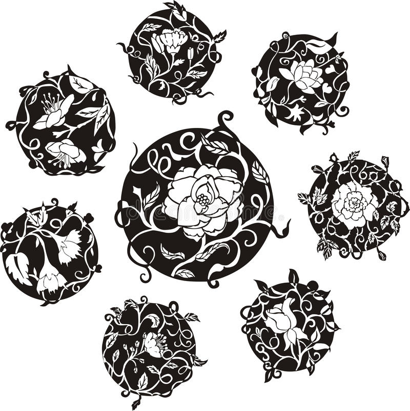 De ronde decoratieve ontwerpen van de bloemdomoor vector illustratie