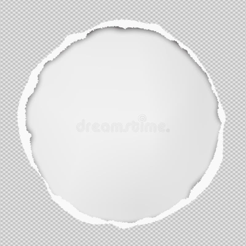 De ronde document samenstelling met gescheurde randen en zachte schaduw is op witte achtergrond Vector illustratie vector illustratie