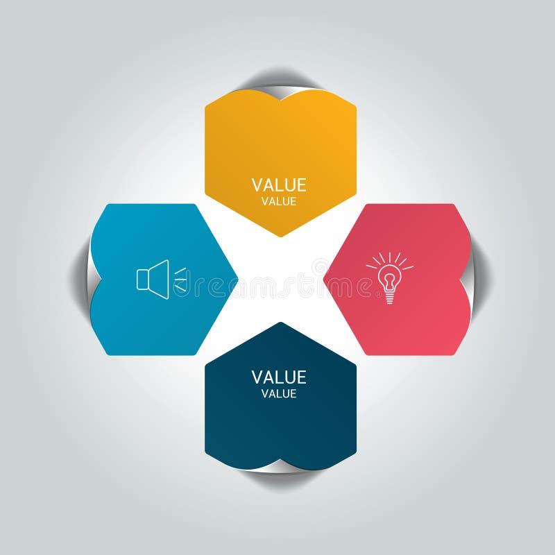 De ronde infographic grafiek van de 4 stappen netto stroom Diagram, grafiek, grafiek, stroomschema, bannermalplaatje stock illustratie