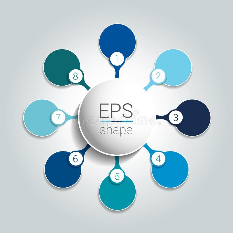 De ronde infographic grafiek van de 8 stappen netto stroom Diagram, grafiek, grafiek, stroomschema, bannermalplaatje royalty-vrije illustratie