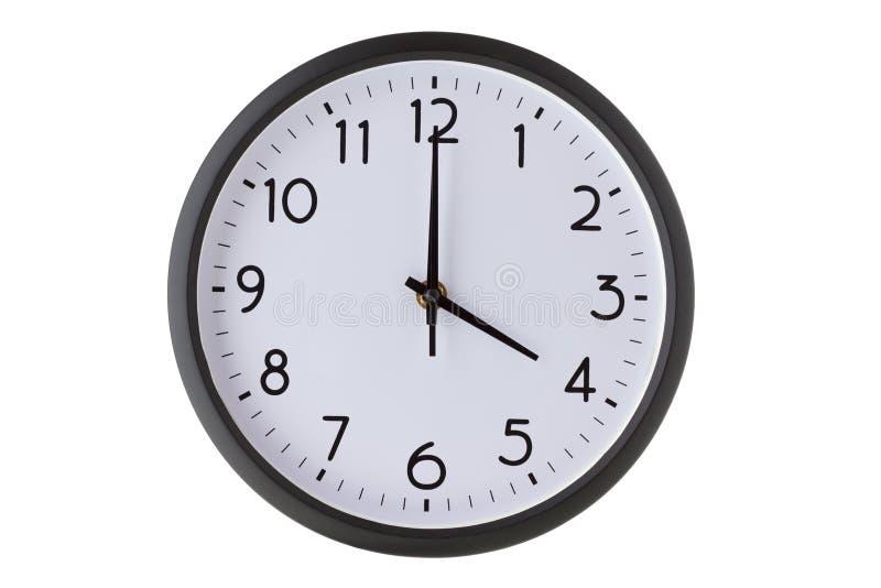 De ronde klok van de bureaumuur op wit, stock foto