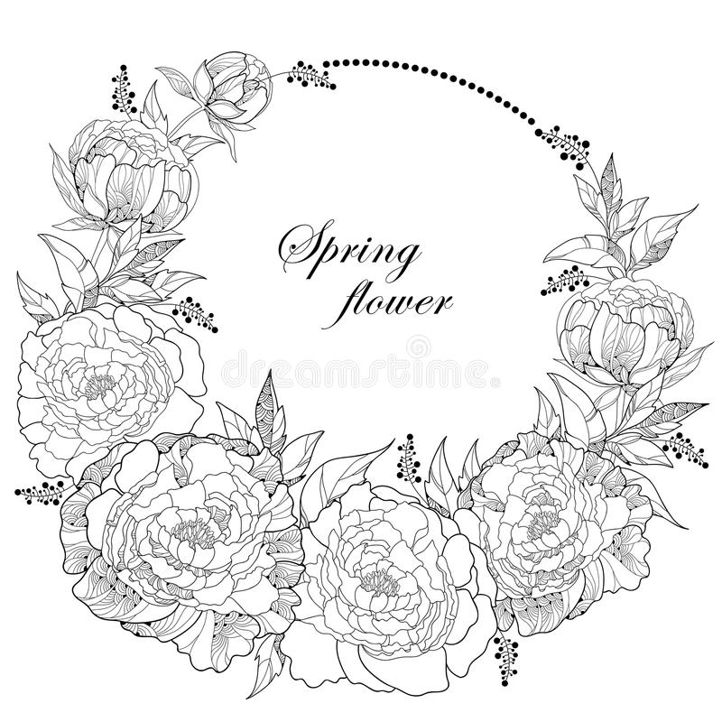 De ronde kroon met pioen zeven bloeit en gaat met een lege die plaats voor tekst weg op witte achtergrond wordt geïsoleerd vector illustratie