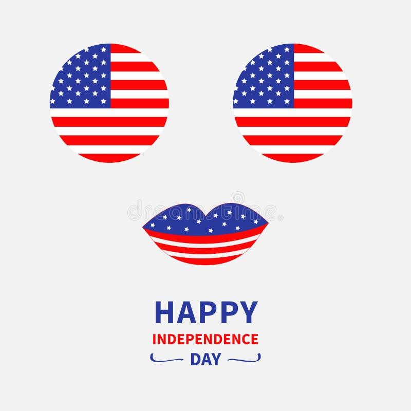 De ronde reeks van het de vlagpictogram van de cirkelvorm Amerikaanse Gezicht met ogen en lippen Ster en strook stock illustratie