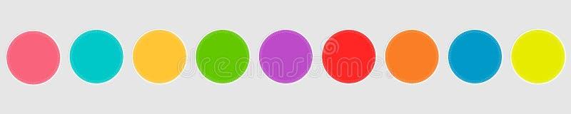 De ronde reeks van het markeringsetiket De cirkel van de streepjelijn Vlakke ontwerpstijl malplaatje Witte achtergrond Ge?soleerd vector illustratie