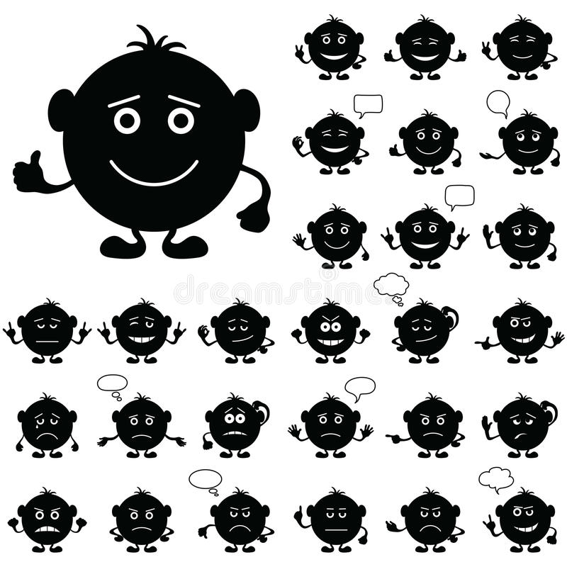 De ronde van Smilies, zwarte reeks, stock illustratie