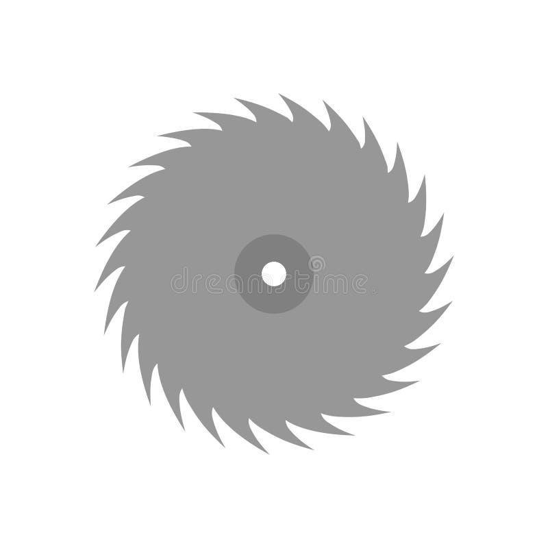 De ronde zag het vlakke vectorpictogram van het illustratieteken Rondschrijven van de de machts roterende snijder van het staal h royalty-vrije illustratie