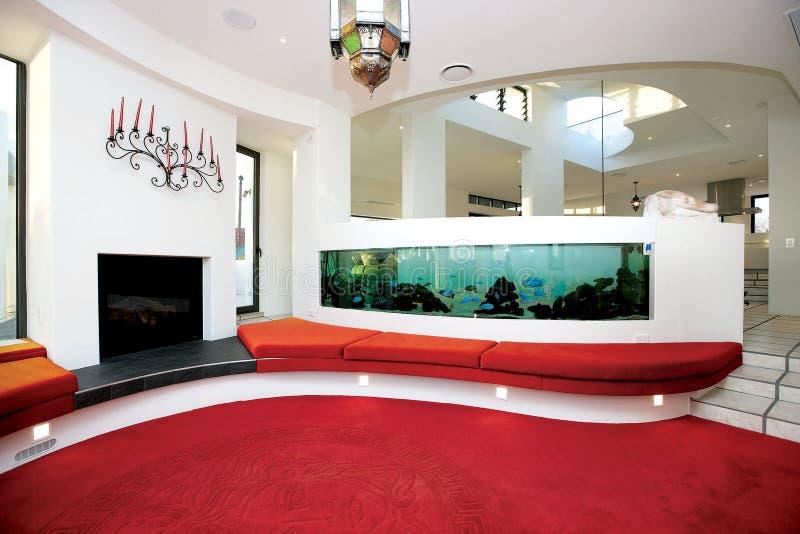 De Roodgloeiende Gedaalde Zitkamer met een aquatische aanraking royalty-vrije stock afbeeldingen