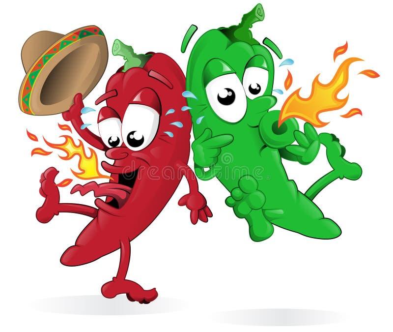 De roodgloeiende het Springen Peper van de Spaanse peper royalty-vrije illustratie