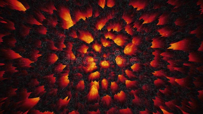 De roodgloeiende kleurrijke achtergrond van het lavamagma, abstract behang vector illustratie