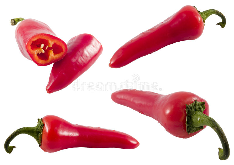 De roodgloeiende reeks van de Spaanse peperpeper stock foto's