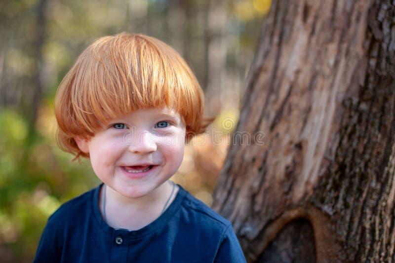 De roodharige jongen glimlacht grappig stock afbeeldingen
