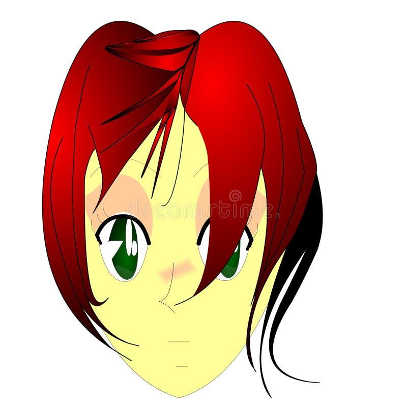 Download De Roodharige van Anime stock illustratie. Illustratie bestaande uit hoofd - 278675
