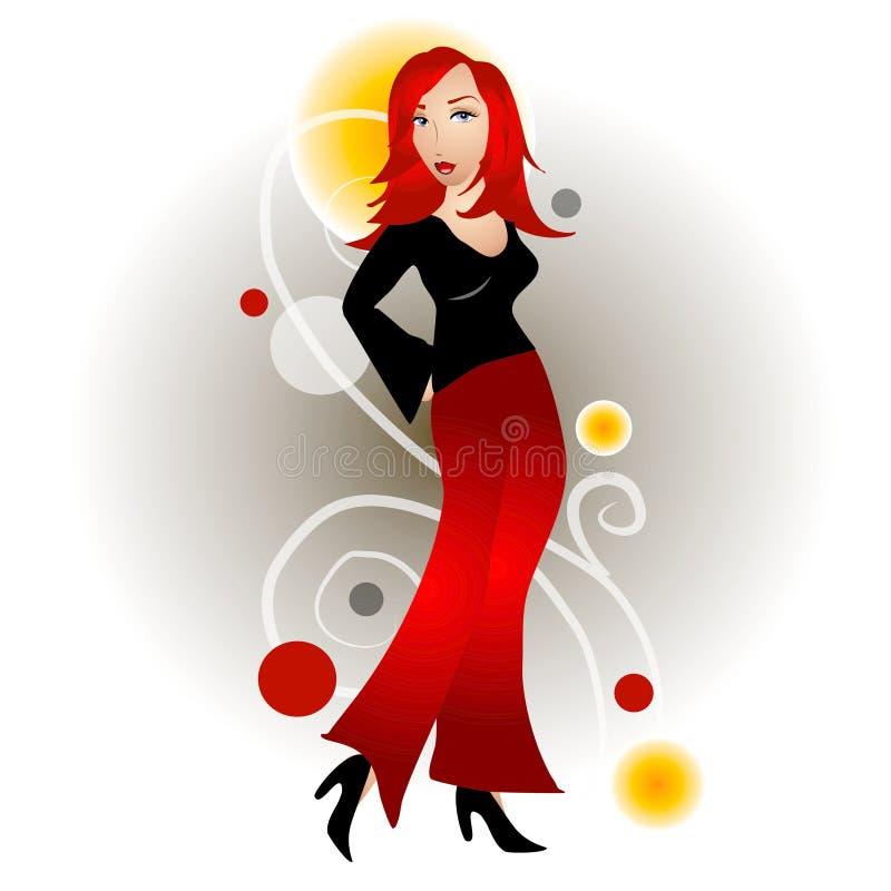 De Roodharige van de Vrouw van de manier royalty-vrije illustratie