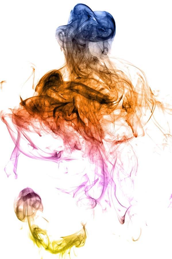 De rook van de kleur op wit stock afbeeldingen