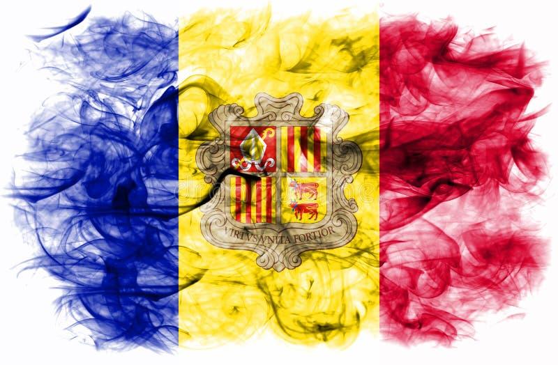 De rookvlag van Andorra op een witte achtergrond vector illustratie