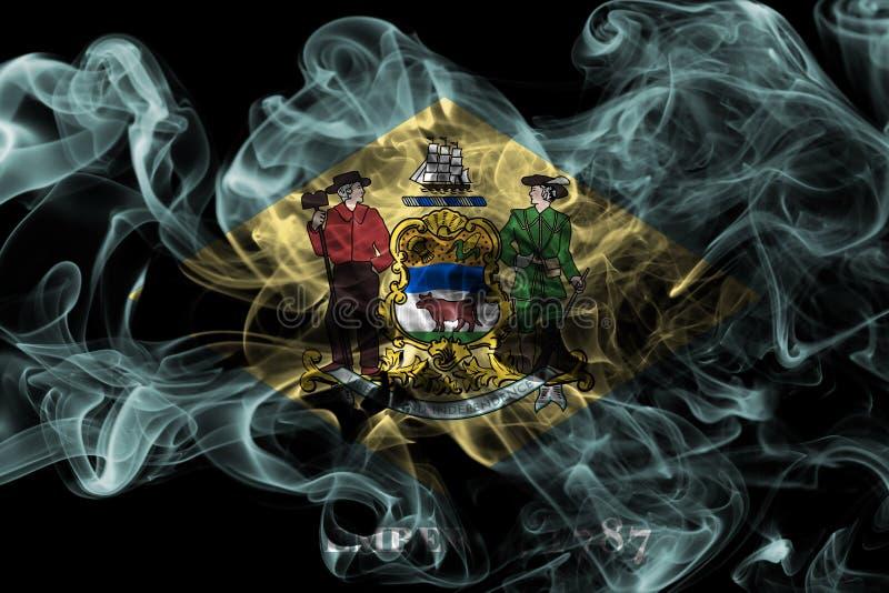 De rookvlag van de staat van Delaware, de Verenigde Staten van Amerika stock afbeeldingen