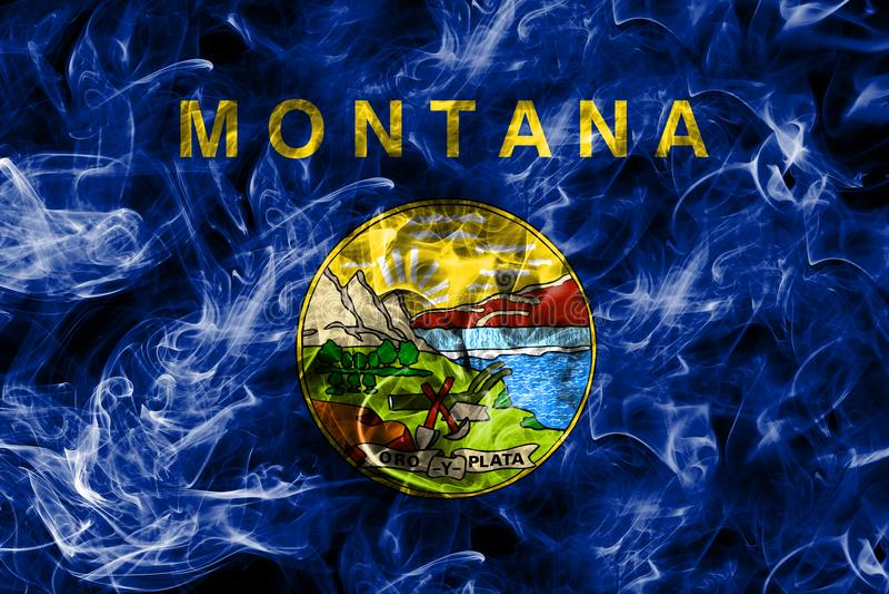 De rookvlag van de staat van Montana, de Verenigde Staten van Amerika royalty-vrije stock foto