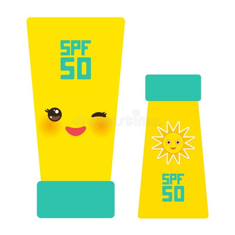 De Roomcontainer van de zonnebrandoliezon Zonnescherm SPF 50 Geelgroene buis op witte achtergrond de schoonheidsmiddelen van de z royalty-vrije illustratie