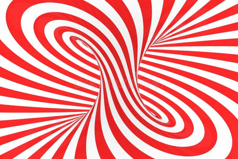 De roosterillustratie van de wervelings optische 3D illusie Contrast rode en witte spiraalvormige strepen Geometrisch torusbeeld  stock illustratie