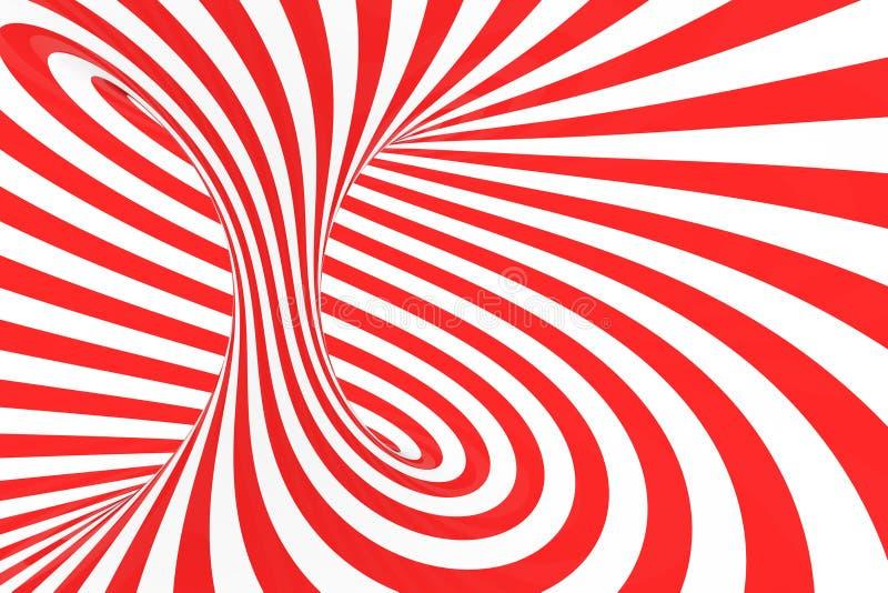 De roosterillustratie van de wervelings optische 3D illusie Contrast rode en witte spiraalvormige strepen Geometrisch torusbeeld  vector illustratie