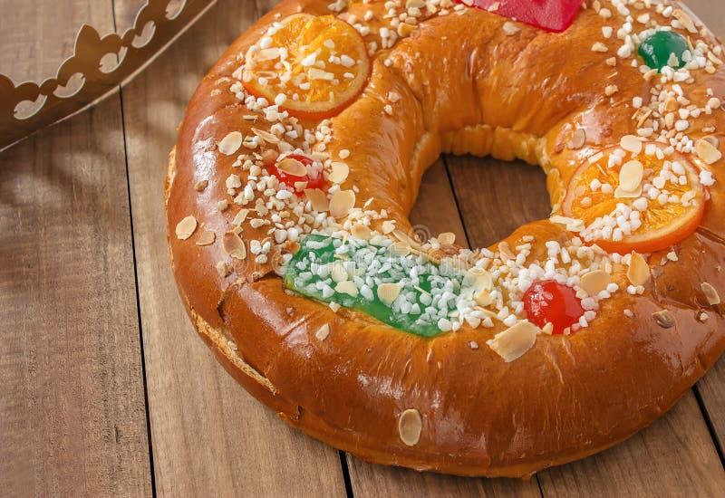 de roscon Reyes Tradycyjny stylu ciasto obraz stock