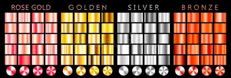 Or de Rose, gradient d'or, argenté, en bronze, modèle, calibre Ensemble de couleurs pour la conception, collection de gradients d illustration libre de droits