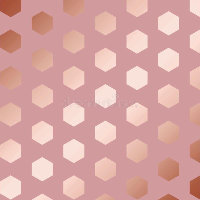 Or de Rose Modèle vectoriel décoratif avec des hexagones illustration de vecteur
