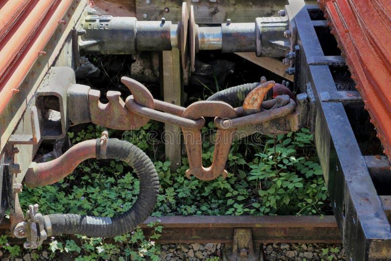 De rostiga kopplingarna på gammal tappningjärnväg åker lastbil eller vagnar på a arkivfoto