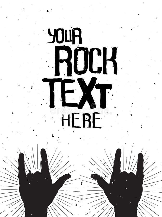De rots overhandigt silhouetten op een overleg, grunge malplaatje voor uw tekst vector illustratie