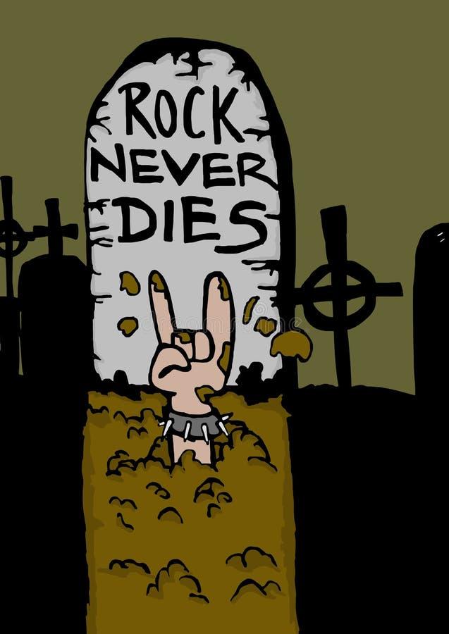 De rots sterft nooit! Grafsteen royalty-vrije illustratie