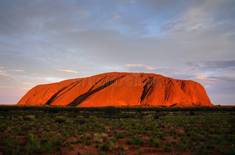 De Rots van Ayers (Uluru) - zonsondergang stock foto