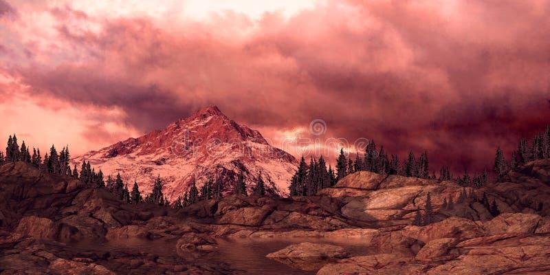 De rotsachtige Gloed van Alpen van de Berg royalty-vrije illustratie