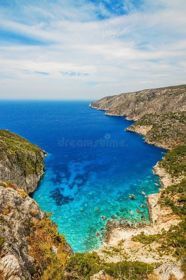 De rotsachtige kust van Kampi, het eiland van Zakynthos royalty-vrije stock fotografie