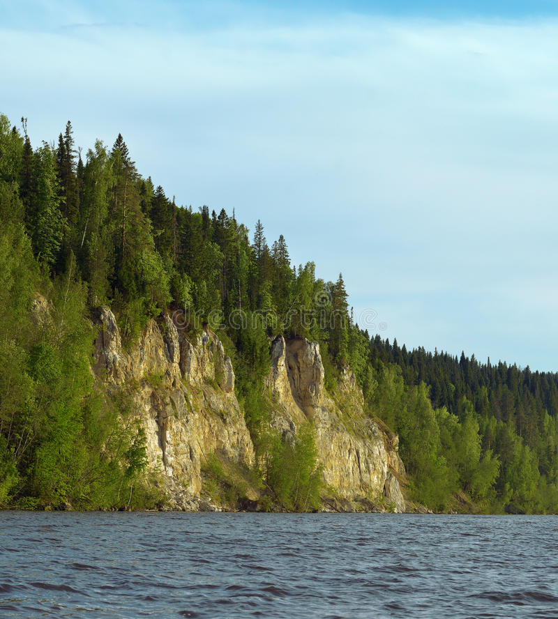 De rotsachtige rivier is behandeld met bos royalty-vrije stock afbeelding