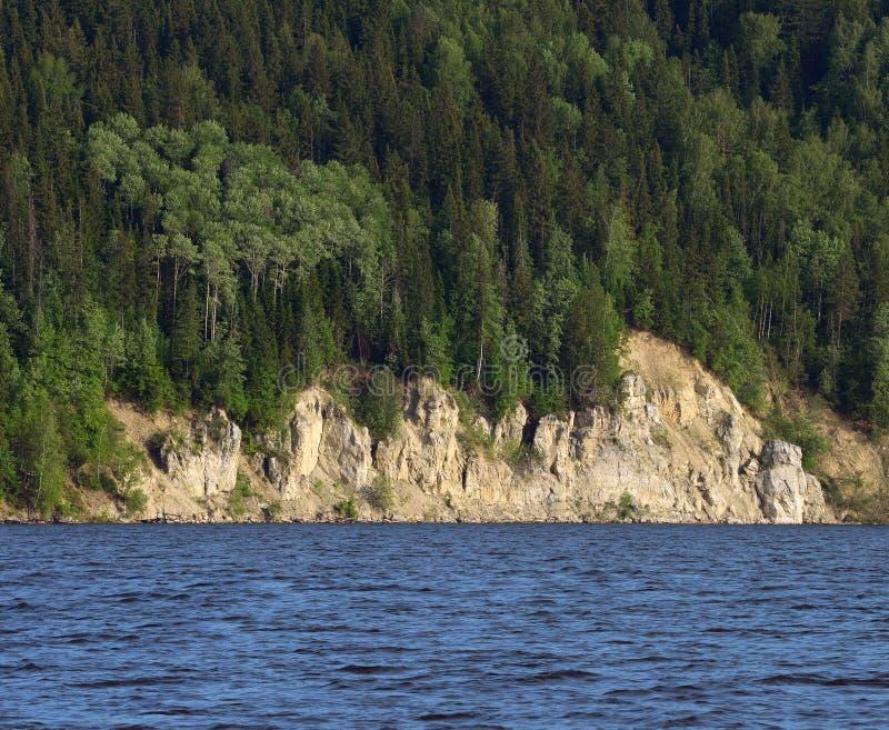 De rotsachtige rivier is behandeld met bos royalty-vrije stock foto's