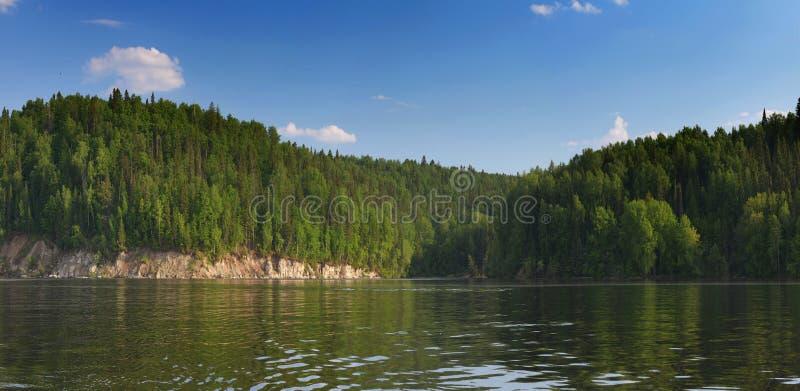 De rotsachtige rivier is behandeld met bos stock afbeeldingen