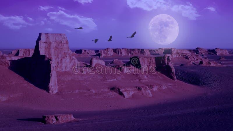 De rotsachtige zandsteenvormingen in Dasht e Lut verlaten tegen de hemel met maan De daling van Alikhan van Sheykh perzië royalty-vrije stock afbeelding