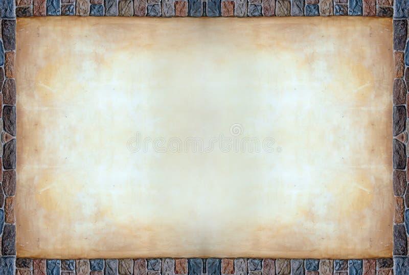De rotsframe van de kleur raad met oud hoofdkaascement royalty-vrije stock afbeeldingen